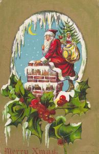 CHRISTMAS; Merry Xmas Santa Claus, chimney, moon, bag of toys, 00-10s
