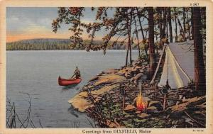 Maine Greetings from Dixfield! Bonfire Tent Boat Nature Camping
