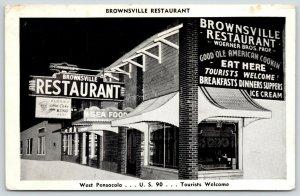 West Pensacola~Ice Cream~Brownsville Restaurant~Hot Cake King~Art Deco Sign~1950