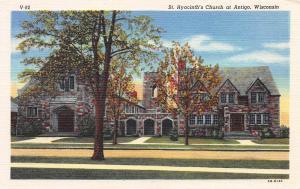 St. Hyacinth's Church at Antigo, Wisconsin, Early Linen Postcard, Unused