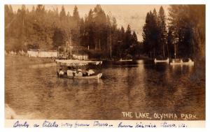 Washington Olympia ,  Park lake with tourist boats , RPC