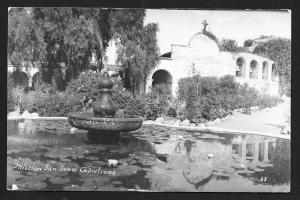 Fountain Mission San Juan Capistrano CA RPPC Unused c1940s