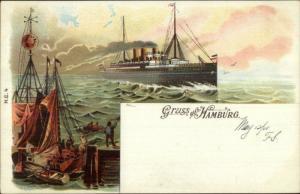 Gruss Aus Hamburg Germany Steamship NORMANNIA Hamburg Amerika Postcard
