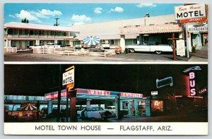 Flagstaff Arizona~Town House Motel~Neon Night Lights~Greyhound Bus~1953 Cars~PC