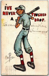 Baseball Player Never Touched a Drop Artist Crosby c1911 Vintage Postcard A31