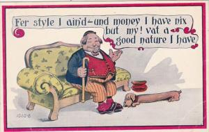 Humour Fat Man On Couch Fer Style I Ain'd Und Money I Have Nix