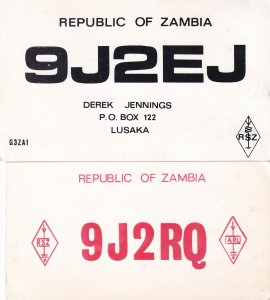 Lusaka Zambia African Amateur Radio QSL 2x Vintage Card s