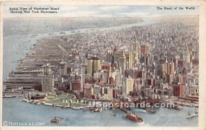 Manhattan Island New York City NY Writing on back