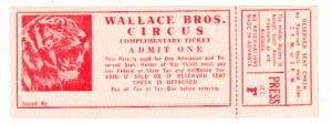 Wallace Brothers CIrcus - Press Ticket Unused