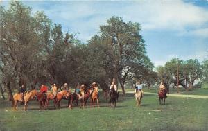 Bandera Texas~Flying L Ranch~Horseback Riders Posing~1950s Postcard