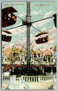 Coney Island New York City~Luna Park Aerial Swing Baskets~Up Close~1908 Postcard