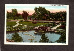 NE City Park Pond Flowers Alliance Nebraska Postcard