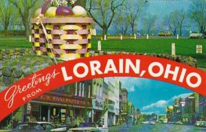 Ohio Greetings From Lorain Showing Woolworth On Broadway and Main