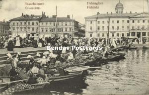finland suomi, HELSINKI HELSINFORS, Fiskarhamnen Kalasatama, Fish Market (1910s)