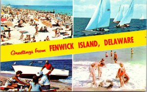 Postcard DE Delaware Fenwick Island Greeting Banner 4 views Beach Sail Boats