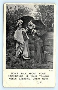 Postcard Men Dressed as Women Don't Gossip Chew Gum to Exercise Tongue K07