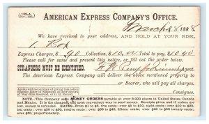 1888 American Express Postal Card Fancy Cancel Grantham New Hampshire