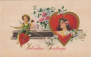 Cherub on Heart violin & woman, Valentine , PU-1917