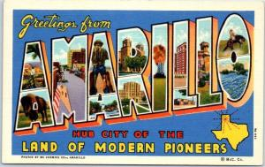 AMARILLO Texas Large Letter Postcard LAND OF MODERN PIONEERS Linen 1940s