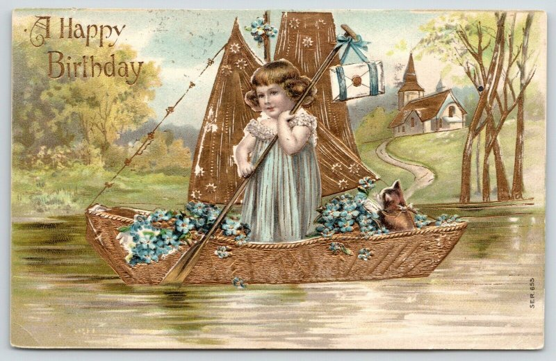 Girl Stands Up in Sailboat~Kitten in Stern~Blue Forget-Me-Nots~Gold Leaf~Germany