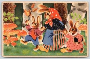 Dressed Rabbits Fantasy~Out Walking~Girl w/Tablet~Polka-Dot Mushrooms~c1915