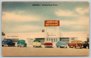 Weatherford Texas~Jordan's Restaurant~Woody Station Wagon~ART DECO~c1950 Linen