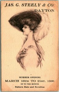 1908 Dayton, Ohio Advertising Postcard JAS. D. STEELY Ladies' Hats Millinery