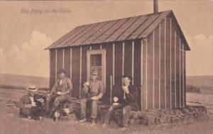 Men With Old Cabin Tea Party On The Claim