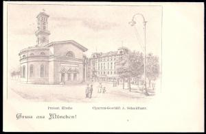 Gruss Aus Munich Protestant Church unused c1905