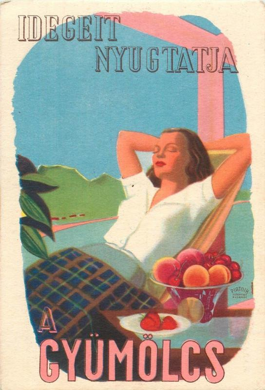 Vintage health propaganda C Vitamin table on the backside Hungary fruits lady