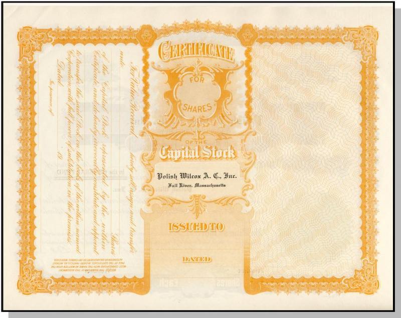 Polish Wilcox Club Stock Certificate, Fall River, Mass/MA