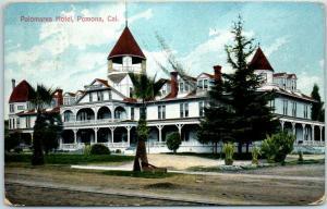 Pomona, California Postcard PALOMARES HOTEL Building / Street View 1910 Cancel