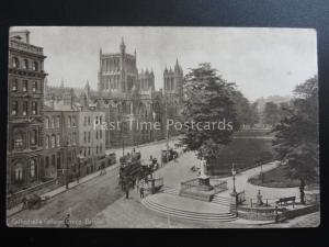 Bristol CATHEDRAL & COLLEGE GREEN shows Tramway - Old Postcard