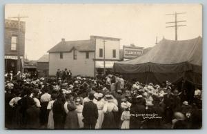 Colby Wisconsin~Market Day Free Tent Show~Billiards~Pool Hall~Store~1909 RPPC