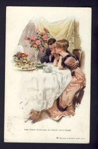 FIRST EVENING THEIR OWN HOME #190 R&N romantic dinner,  HARRISON FISHER artist