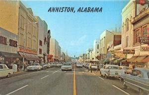 Anniston AL Storefronts Woolworth's Friedman's Jewelers Old Cars Postcard