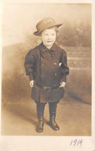 Real Photo~Aunt Estacia as Lil Girl~Belted Coat~Hat~Button Top Shoes~1914 RPPC