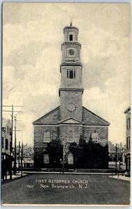 New Brunswick, New Jersey Postcard FIRST REFORMED CHURCH Street View c1920s