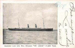 American Line, U.S. Mail Steamer, St. Louis, 1908 Postcard, Used