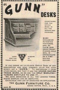 1903 Gunn Furniture Co. Desks Michigan Original Print Ad 2T1-47