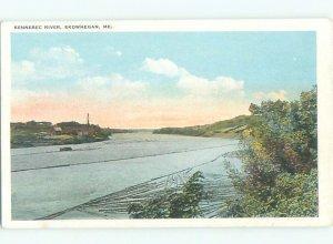 W-border RIVER SCENE Skowhegan - Near Waterville Maine ME AE6462