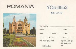 Romania Radio Amateur Station QSL card YO5-3553 Cluj national theatre (unposted)