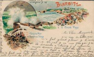 France Biarritz Coup de Mer au Rocher de la Vierge La Grande Plage 03.27