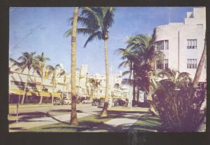 MIAMI FLORIDA DOWNTOWN STREET SCENE 1940's CARS VINTAGE POSTCARD