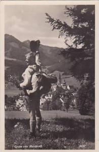 RP, Showing A Happy Man, Gruss Aus Mariazell (Styria), Austria, 1920-1940s
