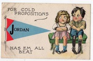 1913 JORDAN NEW YORK PENNANT POSTCARD ANGLO KID SERIES COLD PROPOSITIONS HUMOR