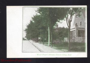 UNION CITY INDIANA WEST PEARL STREET SCENE RESIDENCE ANTIQUE VINTAGE POSTCARD