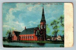 Windsor Locks CT-Connecticut, Congregational Church, Vintage c1916 Postcard
