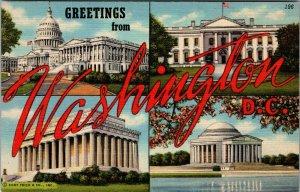 Vintage Postcard Greetings From Washington DC Large Letters Linen Era Curteich