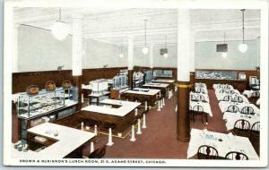 1940s Chicago IL Postcard BROWN & McKINNON'S LUNCH ROOM 21 E. Adams Street